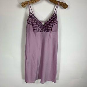 GAP Purple Silk Chemise Slip Dress Embroidered S